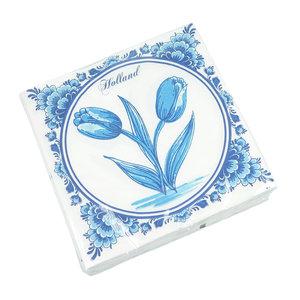 Typisch Hollands Servietten Delft blau mit Tulpen - Holland