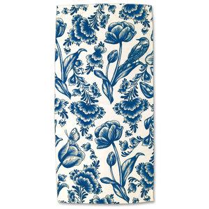 Typisch Hollands Badetuch - Delfter Blau - Tulpen
