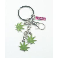Typisch Hollands Sleutelhanger 3 cannabisblaadjes - Amsterdam