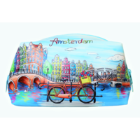 Typisch Hollands Toilet bag Amsterdam - with zipper (bicycle decoration)