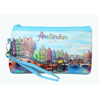Typisch Hollands Toilet bag Amsterdam - with zipper and carrying loop (bicycle decoration)