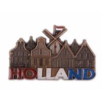 Typisch Hollands Magneet molen & huisjes Holland met glitter koper