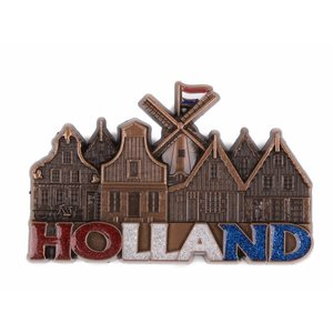 Typisch Hollands Magnet mill & houses Holland with glitter copper