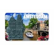 Typisch Hollands Magneet MDF/Metaal grachtenpand Amsterdam