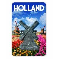 Typisch Hollands Magnet MDF / Metal mill tulip field Holland