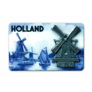 Typisch Hollands Magnet MDF / Metal mill delft blue Holland
