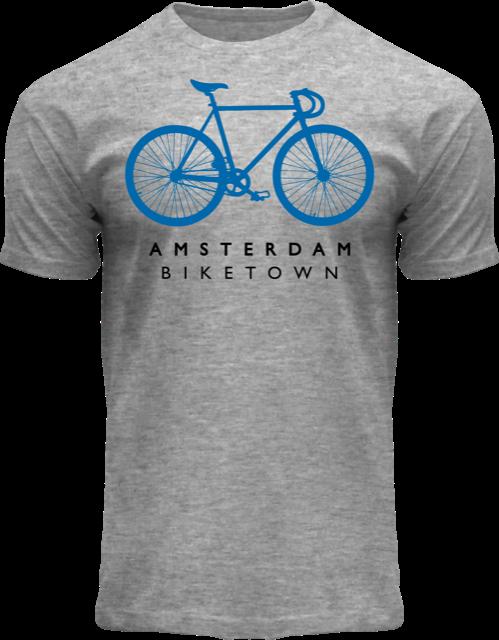 T-Shirt grau meliert - Bike Town Amsterdam