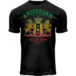 Holland fashion T-Shirt - Amsterdam Ganja Town (black/light effect)