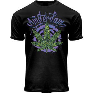 Holland fashion T-Shirt Fluor Amsterdam Weed (black/light effect)