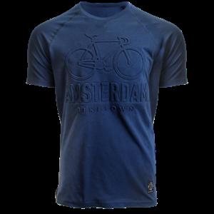 Holland fashion T-Shirt Amsterdam - Embossed - trendy -Raglan mouw - Blue