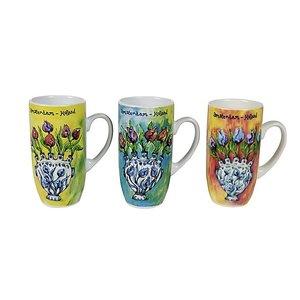 Typisch Hollands Geschenkset mit 3 Tassen Tulip Vase Dekoration