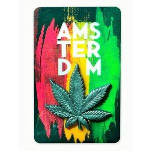 Magneet MDF/Metaal Cannabisblad  Amsterdam