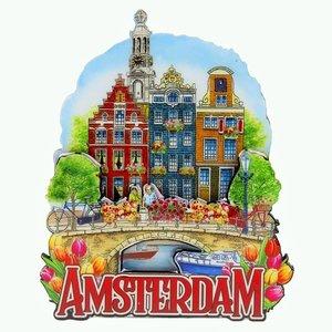 Typisch Hollands Magneet  3 huizen op brug Amsterdam