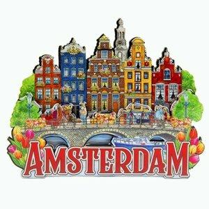 Typisch Hollands Magneet  5 huizen op brug Amsterdam
