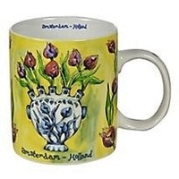 Typisch Hollands Vintage colors - Tulpen in vaas - Geel