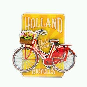 Typisch Hollands Magnet MDF-Fahrrad auf gelbem Holland - holländische klassische Fahrräder