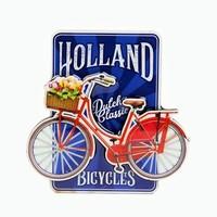Typisch Hollands Magneet MDF fiets op blauw Holland - Dutch classic bicycles