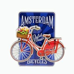 Typisch Hollands Magnet MDF-Fahrrad auf blauem Amsterdam - holländische klassische Fahrräder
