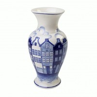 Typisch Hollands Delft blue vase - Canal houses