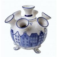 Typisch Hollands Tulpenvaas op pootjes Groot- Grachtenhuisjes - Delfts blauw