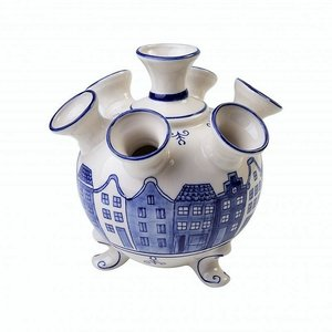Typisch Hollands Tulip vase on legs - small - Canal houses - Delft blue