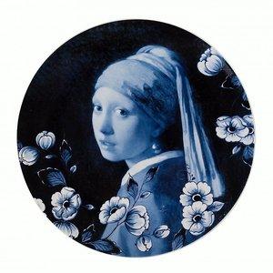 Heinen Delftware Delfts blauw -Wandbord -meisje met de parel