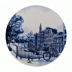 Typisch Hollands Delfts blauw bord grachtengordel - Amsterdam