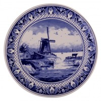 Typisch Hollands Delfter Blau - Wandteller - Traditionelle Mühlenlandschaft 20 cm