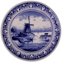 Typisch Hollands Delfter Blau - Wandplatte - Traditionelle Mühlenlandschaft 25 cm