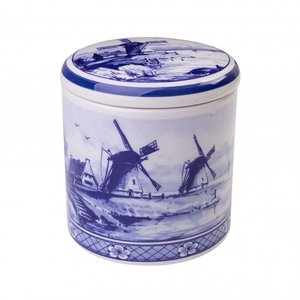 Heinen Delftware Delfts blauwe voorraadpot - Molenlandschap 13 cm