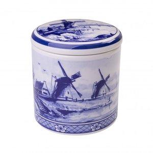 Typisch Hollands Delft blue storage jar - Mill landscape 13 cm