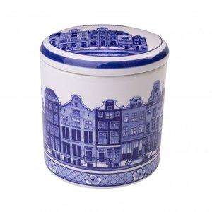 Typisch Hollands Delft blue storage jar - Amsterdam canal houses 13 cm