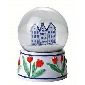 Heinen Delftware Sneeuwbol Gevelhuisjes - Delfts blauw