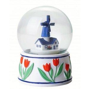 Typisch Hollands Schneekugelmühle - Delfter Blau