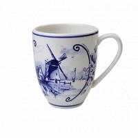 Typisch Hollands Große Tasse mit Mühlen und Blumendekor.