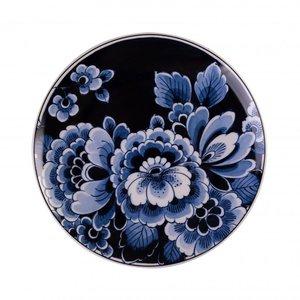 Heinen Delftware Wandbord Bloemen donker