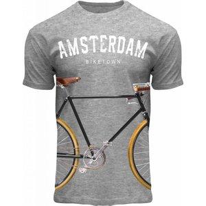 Holland fashion T-Shirt Holland - Grijs - Amsterdam - Fiets
