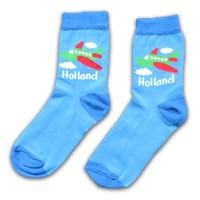 Typisch Hollands Children's socks ✈️ Plane - Blue -Green (Holland)