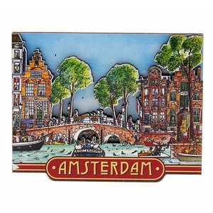 Typisch Hollands Magneet  grachtentafereel Amsterdam