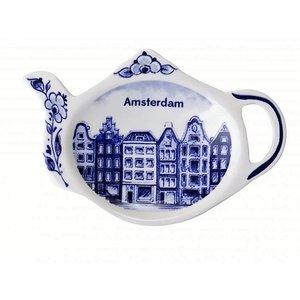 Heinen Delftware Theezakjeshouder - Delfts blauw ( Amsterdam )