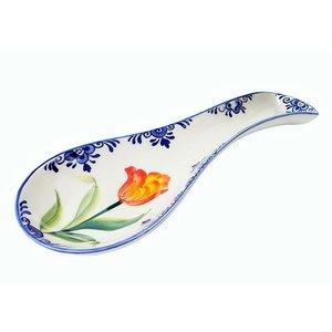 Typisch Hollands Spoon rest with orange / green tulip