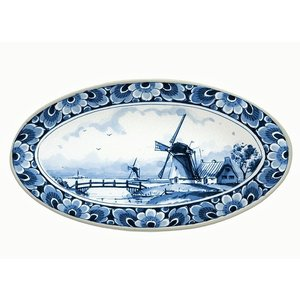 Heinen Delftware Delfts blauwe schaal met molendecoratie