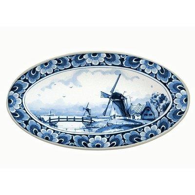 Typisch Hollands Delfts blauwe schaal met molendecoratie