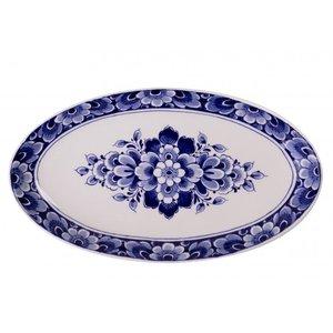 Heinen Delftware Delfts blauwe schaal met bloemdecoratie