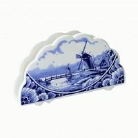 Typisch Hollands Blauer Serviettenhalter Delft - Mühllandschaft