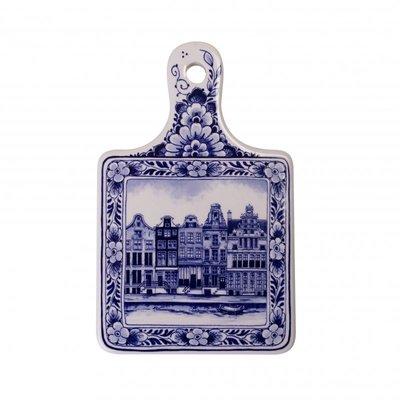 Typisch Hollands Kaasplank klein grachtenpanden - Delfts blauw