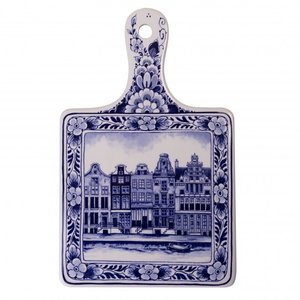 Heinen Delftware Kaasplank groot grachtenpanden - Delfts blauw