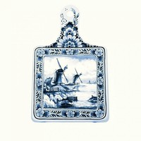 Typisch Hollands Cheese board large mill Delft blue