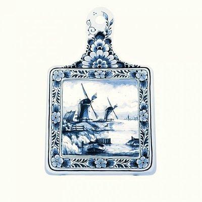 Typisch Hollands Kaasplank groot molenlandschap - Delfts blauw