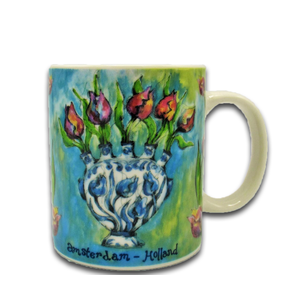 Typisch Hollands Vintage Farben - Tulpen in Vase - Blau
